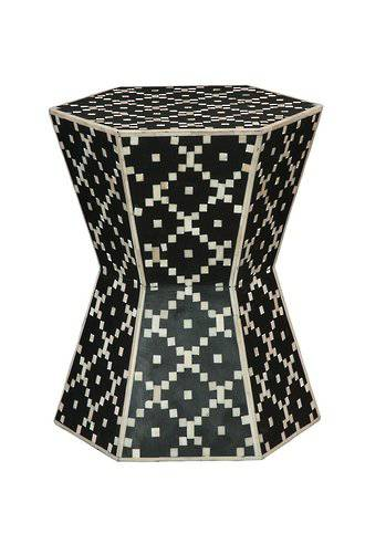 Bianca Lorenne Bone Inlay Diamond Black/Ivory  Stool