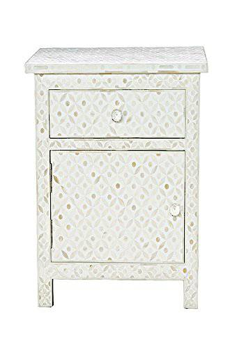Bianca  Lorenne Bone Inlay Eye Design Ivory/ Ivory Bedside Table