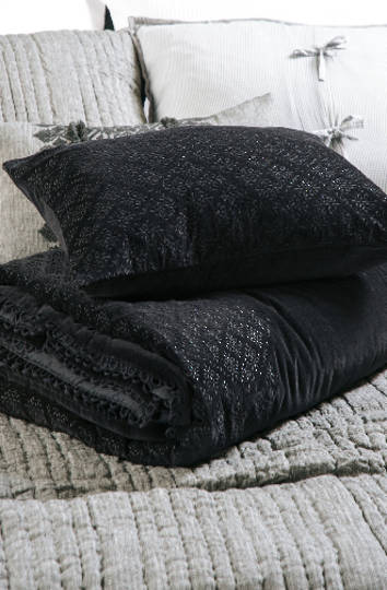 Bianca Lorenne - Sashiko Black Comforter / Eurocases and Cushion Sold Separately