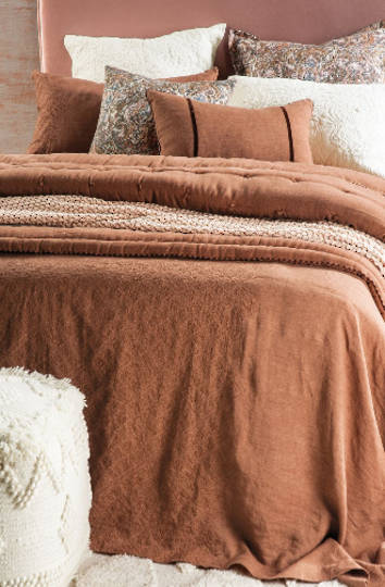 Bianca Lorenne - Sashiko Cinnamon Linen Throw