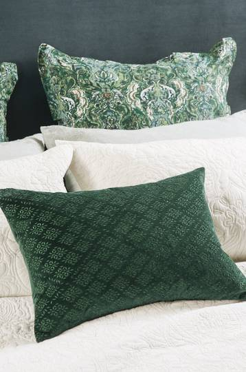 Bianca Lorenne - Sashiko Emerald Cushion - ON SALE