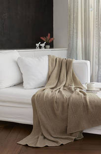 Baksana - Bergamo Lambswool Blanket/Throw Birch