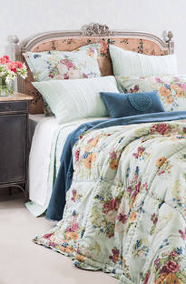 Bianca Lorenne - Bouquet Duck Egg Comforter/ Pillowcases and Cushion Sold Separately