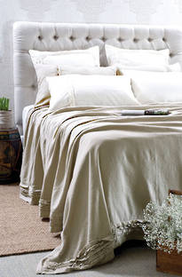 Bianca Lorenne Rafelle Natural Linen Bed Cover / Pillowcases - Sold Separately