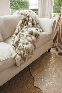 Faux Fur Throw  -  Snowshoe Hare