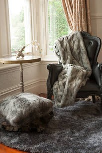 Faux Fur Throw - Grey Wolf