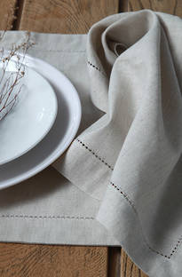 MM Linen Natural Hemstitch Napery