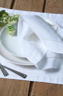 MM Linen White Hemstitch Napery