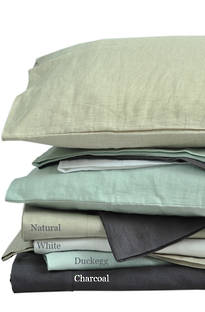 MM Linen Laundered Linen White Sheet Set/Pillowcases Sold Separately