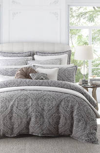Private Collection Manon Silver Duvet Cover Set / European Pillowcase Sold Separately