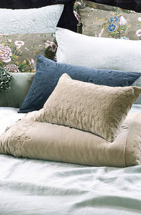 Bianca Lorenne Matsuba Taupe Comforter and Cushion