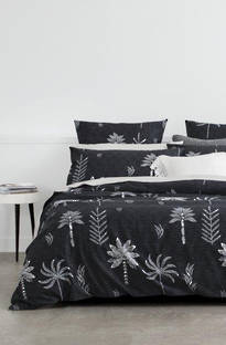 Sheridan Night Palm Carbon Duvet Cover Set / Eurocase Sold Separately