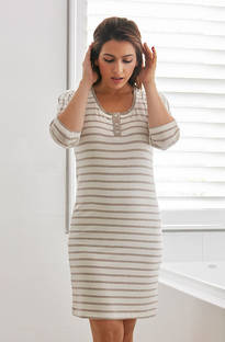 Baksana - Nora Stripey Knit Nightie Mocca