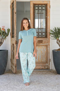 Baksana -  Oriental Blossom PJ Set with Knit Top