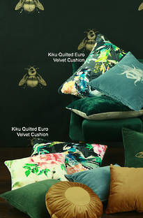 MM Linen - Kiku Quilted Euro Velvet Cushion Set