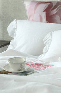 MM Linen Laundered Linen Frill White Duvet Cover Set