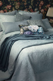 MM Linen Florentina Mist Blue Bedspread Set / Extra pillowcases, Euros  sold separately