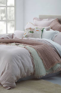 MM Linen - Laundered Linen Blush Duvet Cover Set / Extra Pillowcase & Euro Sets Sold Separately
