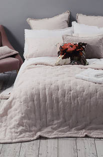 MM Linen - Laundered Linen Blush Bedspread Set