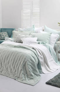 MM Linen Laundered Linen  Duckegg  Bedspread Set
