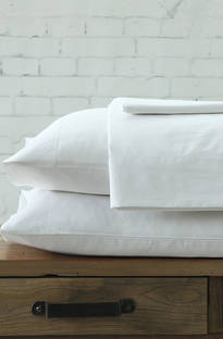 MM Linen Maddon 500TC White Sheet Set / Extra Pillowcases Sold Separately