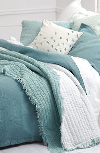 MM Linen Tali Throw & Cushion - Duckegg