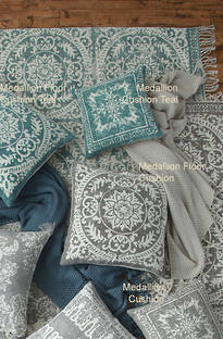 MM Linen - Medallion Teal Cushions