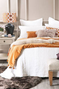 Bianca Lorenne Ricamo White Bedspread / Pillowcases - Sold Separately