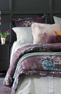 Bianca Lorenne Vernice Aubergine Comforter and Cushion