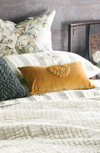 Bianca Lorenne Pezzato Ivory Charcoal Bedspread / Pillowcases Sold Separately