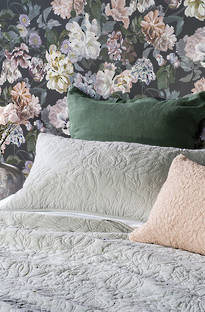 Bianca Lorenne Pomegranate Pale Grey Bedspread / Pillowcases - Sold Separately