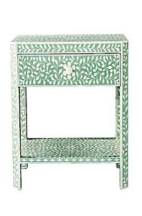 Bianca  Lorenne Bone Inlay Floral Green/ Ivory Bed side Table