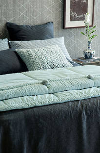 Bianca Lorenne Sashiko Midnight Linen Bedspread / Pillowcases Sold Separately